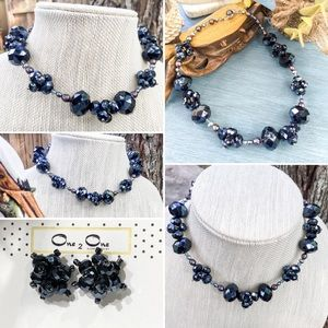 Jewelry - Navy blue crystal beaded necklace & earrings.